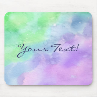 Personalized Green and Purple Watercolor Mouse Mat