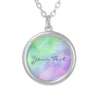 Personalized Green and Purple Watercolor Pendants