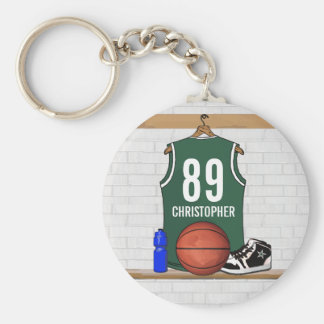 Personalized Green and White Basketball Jersey Key Ring