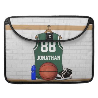 Personalized Green and White Basketball Jersey Sleeve For MacBook Pro