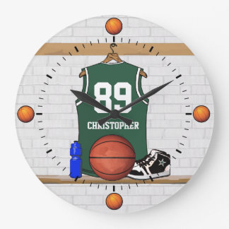 Personalized Green and White Basketball Jersey Wall Clock