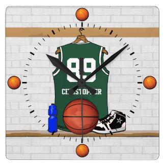 Personalized Green and White Basketball Jersey Wallclocks