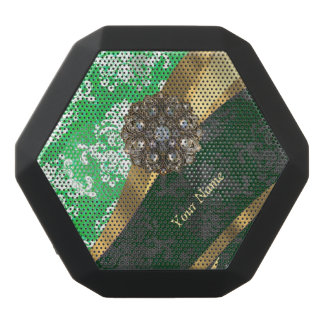 Personalized green and white damask pattern black bluetooth speaker
