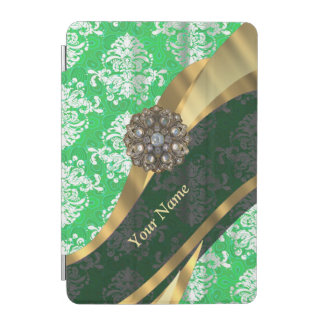 Personalized green and white damask pattern iPad mini cover