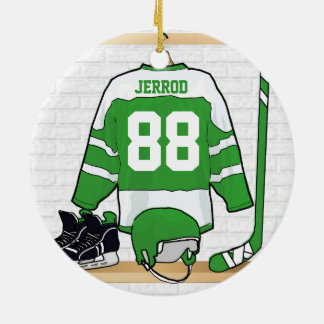 Personalized Green and White Ice Hockey Jersey Christmas Ornament
