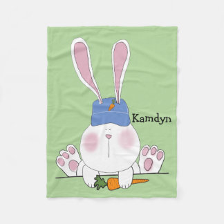 Personalized Green Baby Bunny Blanket