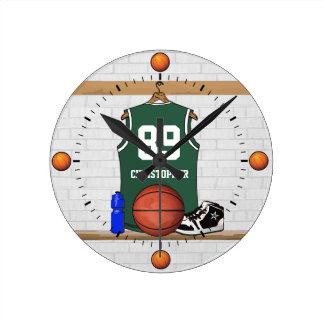 Personalized Green Basketball Jersey Wallclocks