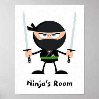 Personalized Green Belt Ninja Warrior Two Katana Poster