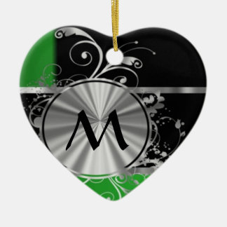 Personalized green black and silver christmas ornament