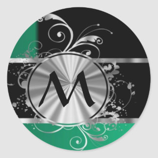 Personalized green black and silver monogram round sticker