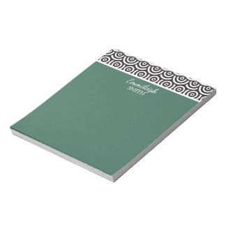Personalized Green Black and White Retro Notepad