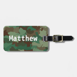 Personalized Green Camo Luggage Tag