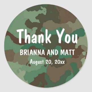 Personalized Green Camo Thank You Wedding Sticker