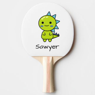 Personalized Green Dinosaur Kawaii Cartoon Ping Pong Paddle