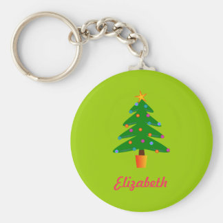 Personalized Green Festive Christmas Tree Basic Round Button Key Ring