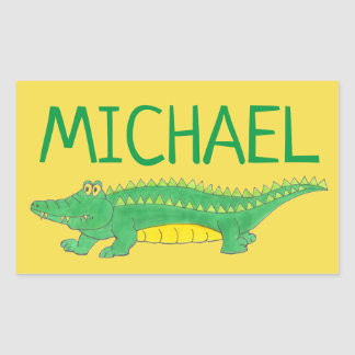 Personalized Green Gator Alligator Crocodile Croc Rectangular Sticker