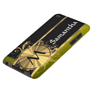 Personalized green gold and black iPod touch cases