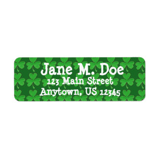 Personalized Green Irish Shamrock Clover Labels