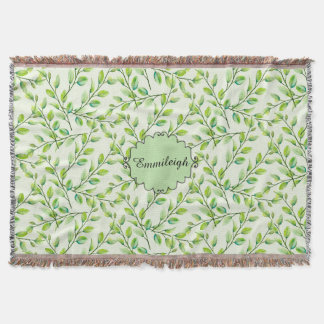 Personalized Green Leaves and Branches Throw Blanket