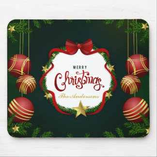 Personalized Green Merry Christmas | Mousepad