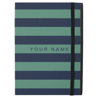"Personalized Green & Navy Blue Striped iPad Pro 12.9"" Case"