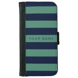 Personalized Green & Navy Blue Striped iPhone 6 Wallet Case