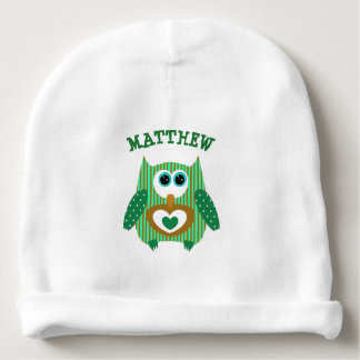Personalized green Owl New Baby Boy Newborn Cap Baby Beanie