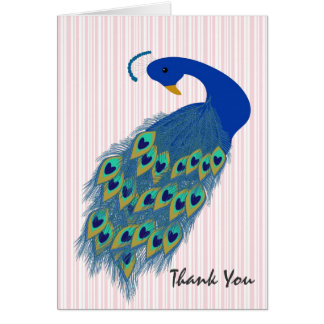 Personalized Green Peacock Design Greeting Card