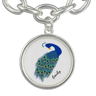 Personalized Green Peacock Designs Bracelet