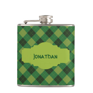 Personalized Green Plaid St. Patrick's Day Flask