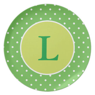Personalized Green Polka Dot Plate