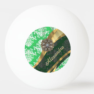 Personalized green pretty girly damask pattern ping pong ball