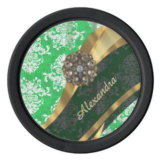 Personalized green pretty girly damask pattern poker chips
