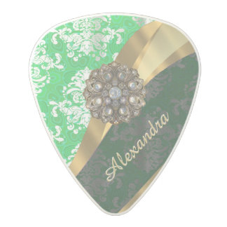 Personalized green pretty girly damask pattern polycarbonate guitar pick