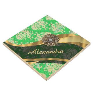 Personalized green pretty girly damask pattern wood coaster