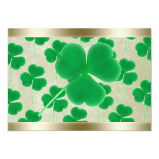 Personalized Green Shamrocks Gold Border Personalized Announcements