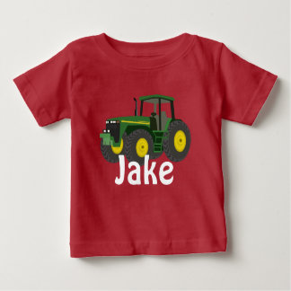 Personalized Green Tractor Baby T-Shirt