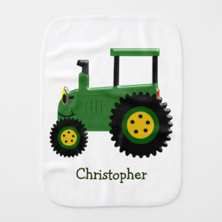 Personalized Green Tractor Burp Cloth