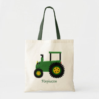Personalized Green Tractor Design Tote Bag