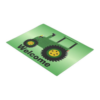 Personalized Green Tractor Doormat