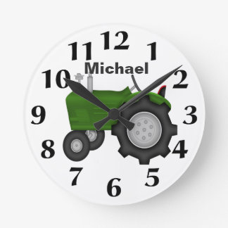 Personalized Green Tractor Wall Clock