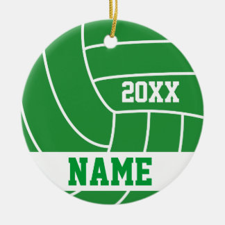 Personalized Green Volleyball Year Ornaments