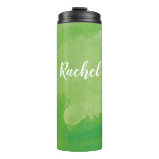 Personalized Green Watercolor Thermal Tumbler