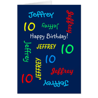 Personalized Greeting Card 10th Birthday, Blue