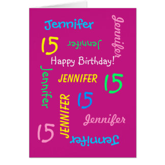 Personalized Greeting Card Name 15th Birthday Pink