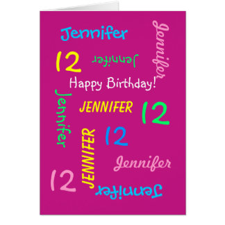 Personalized Greeting Card Pink, 12 Years Old,