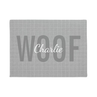 Personalized Grey Woof Dog Pet Mat