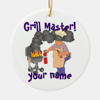 Personalized Grill Master Double-Sided Ceramic Round Christmas Ornament