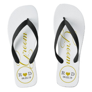 Personalized Groom (gold) Flip Flops