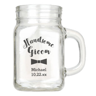 Personalized Groom Wedding Bridal Mason Jar